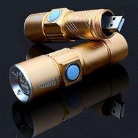 led blinkende rote blaue taschenlampe großhandel-FC-17 wiederaufladbare USB-Taschenlampe 3-Mode Mini-LED-Taschenlampe Wasserdichte USB-Zoom-Lampe Eingebaute 16340 Batterie Lanterna outdoo Camping