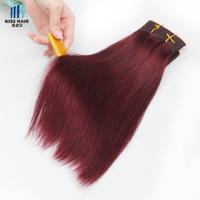 99j rotwein menschliches haar großhandel-400g 99j Burgundy Dark Weinrot Remy Haarbündel Seidige Gerade Körperwelle Tief Curly Qualität Farbige Brasilianische Menschliche Haarwebart
