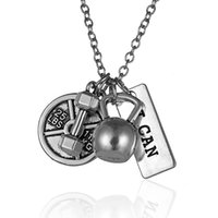 Celtic sports lettering - New Arriver Men s dumbbell pendant necklaces lettering I can dumbbell men jewelry sports necklace fashion gifts fitness barbell