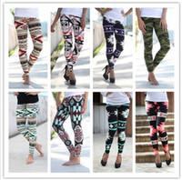 женские леггинсы оптовых-Печатные леггинсы повседневная тощий леггинсы эластичный тонкий карандаш брюки женская мода брюки эластичные геометрические леггинсы Jeggings KKA2136