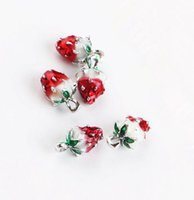 Wholesale enameled jewelry resale online - 20PCS Enameled strawberry charm pendant x12mm jewelry findings