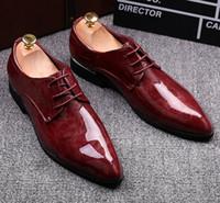 ingrosso marche di scarpe di vestito superiore per gli uomini-2016 NUOVA moda nero rosso in vera pelle uomini abito scarpe da sera, scarpe oxford uomo d'affari, scarpe da uomo di marca originale di alta qualità da sposa