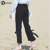 JOYDU Brand 2017 Split Bow Straight Summer Capri Pants Women High Waist Pink Chiffon Повседневные брюки pantalon femme Freddy Pants