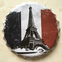 Wholesale 3d Eiffel Tower Decor - Eiffel Tower Paris Vintage Round 3D tin sign bottle beer cap design Embossed metal craft gift poster man cave home bar coffee shop decor