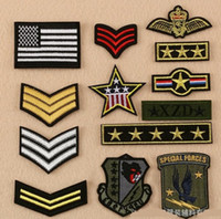 Wholesale Military Biker Patches - military standard iron on patches army cloth logo fabric logo Applique badge clothing accessori DIY applique biker embroidered wholesale