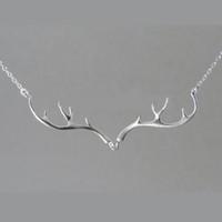 Wholesale Wholesale Antler Necklace - Wholesale-Deer Antler Necklaces Antler Jewelry Deer Necklace for Woman Colar De Chifre De Veado Designer Jewelry Silver Women for Vestidos