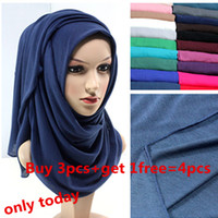 Wholesale Wholesale Jersey Hijab Scarf Muslim - Wholesale-21 colors high quality JERSEY scarf jersey shawl muslim hijab scarf maxi 180*80cm retail