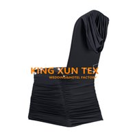 Wholesale wedding swags online - Pleated Lycra Spandex Chair Cover Back With Swag Drape For Wedding And Event Decoration