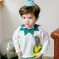 Wholesale Cute Bear Long Shirt - Boys t shirt Korean 2017 Cartoon Toddler Tee Shirts Spring Fashion Bear Cute baby boy clothes Cotton Casual Kids Tops C302