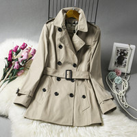 Wholesale Thin Waist Women - Water feed long coat trench coat denim trench coat casacos feminino free shipping New high-end women's wholesale02
