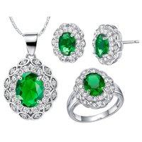 anéis de zircônio mulheres venda por atacado-América Zirconium 925 Sterling Silver pingente Brincos anel Mulheres Presente NEW ternos custom-made terno high-end Cr