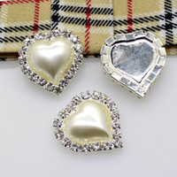Wholesale Button Element - 50pcs 22x21mm Heart Metal Rhinestone Button With Pearl Center Wedding Hair Embellishment DIY Accessory Factory Price