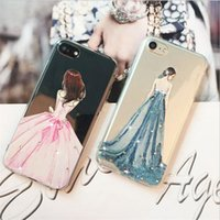 apfel farbe brautkleider großhandel-TPU transparent silikon gemalt hochzeitskleid mosaik farbe diamant für apple iphone 7 plus case iphone 5 s 6 s 7 s telefon case schutzhülle