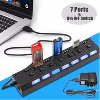 Wholesale Pc Power Switch Cable - High Speed Black White 7 Ports LED USB 2.0 Adapter Hub Power on off Switch Usb Cable computer accessories For PC Laptop