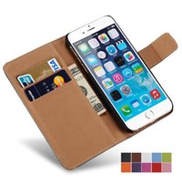 Wholesale I Phone Leather Wallet - Case For iPhone 6 6S   6S Plus Wallet Flip Style Luxury PU Leather Cover With Card Holders 4.7 5.5 inch Coque i Phone Bag Black
