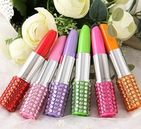 Wholesale Lipstick Pens Rhinestones - Creative Stationery Rhinestone Lipstick Shape Ballpoint Office Stationery Ball Pen