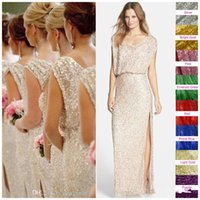 Wholesale Modest Champagne Bridesmaid Dresses - Shiny Rose Gold Sequins Split Country Boho Long Bridesmaid Dresses 2017 Modest Champagne Keyhole Back Cheap Wedding Party Guest Dress