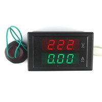 Wholesale Display Digital Ac - AC80-300V 100A LED Digital Voltmeter Ammeter Current Meter Ampere Panel Guage Red Green Dual Display Coil Free Shipping