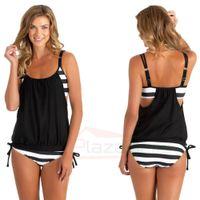 Wholesale Tankini Wear - US FAST SHIPPING FROM DE Women's Tankini Bikini Set Push-up Padded Swimsuit Bathing Suit Swimwear Plus Size Two Pieces beach wear