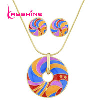 Jewerly Sets Gold-Color Chain avec Candy Color Rayé Pattern Round Heart Bohemian Necklace and Small Stud Earrings