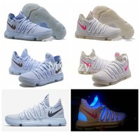Wholesale Mens Basketball Shoes Mvp - LMTD KD 10 Anniversary Faint Blue Multi Color Mens Basketball Shoes KD10 X Mvp Luminous white Mens Kevin Durant Shoes Sports Sneakers US7-12