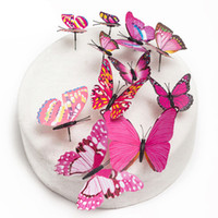 Vente en gros-12pcs / lot 6Styles Fournitures de mariage PVC Butterfly Cake Topper, Wedding Cake Stand Decoration Party Cupcake Supplies
