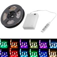 led-streifen beleuchtung batterie angetrieben großhandel-Neue Ankunft wasserdichter flexibler Streifen RGB 5050 SMD IP65 LED beleuchtet Batterie-Energie-Lampe 3 Schlüssel mit Minicontroller 0.5M / 1M / 2M