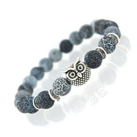 Charm Bracelets owl fashion - New Owl Natural Stone Beads Bracelet Bangle for Men Women Stretch Yoga Lava Stone Jewelry Fashion Accessories for Lovers
