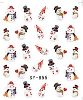 Wholesale Christmas Glitter Nail Stickers - Wholesale- GLITTER WATER DECAL NAIL ART NAIL STICKER Xmas Christmas Santa Clause Deer SY855-860