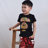 Wholesale Tees Kid Cartoon Clothes - Little boy Kids Clothing T-shirt Round Neck White High Quality Printing Short-sleeved Cotton Graphic Tee Fashion Leisure Cartoon Soft Lovely