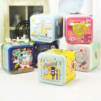 Wholesale Wholesale Cartoon Tin Boxes - Tin Box Cute Cartoon Sugar Tea Coffee Candy Sundries Snacks Storage Cases Three-dimensional Relief Size: 7.5x7.5x6.5cm 6pcs lot Mix Up