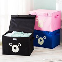 Wholesale oxford fabric storage box - Storage Box Oxford Cloth Water Proof Cartoon Cute Teddy Bear Bin Sundries Clothes Toy Large Capacity Gift Case 13 5ms F R