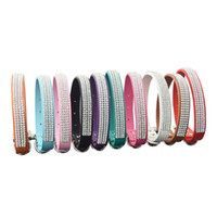 Wholesale dog collars suppliers resale online - Pieces Colors Size New Arrival Brand Professional Pet supplier Pu Leather Rhinestone Dog Collar