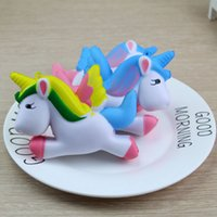 Wholesale flying prop toy resale online - 11CM Jumbo Colorful Flying Unicorn Pony Horse Squishy Toys Phone Strap Slow Rising Squeeze Doll Fun Props Kisd Gift P15