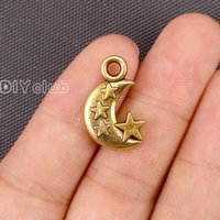 Wholesale Gold Plated Connector Charms - 40pcs- Antique Gold Bronze Silver 2 Sided Moon and Star Charms Pendant 21x14mm Lovely Connector DIY Jewelry Making