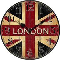 decoración de pared vintage para sala de estar al por mayor-Al por mayor- Reloj de pared de Londres Bandera de madera de Londres Dormitorio grande Decorativo Clásico Vintage relojes de pared Decoración para el hogar Decoración de la sala de estar