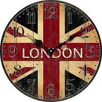 Wholesale London Clocks - Wholesale- London Wall Clock Wood Retro London Flag Large Bedroom Decorative Classic Vintage wall clocks Home Decor Living Room Decoration