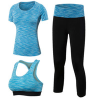 Wholesale Womens Compression Pants - 2017 New Womens Dry Fit Breathable Compression Sports Bras and Shirts and Pants Set for Yoga Free Shipping