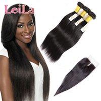 jungfrau peruanischen 4er verschluss großhandel-Peruanisches Jungfrau-Haar Remy Haar-preiswerte silk gerade spinnt 3 Bündel mit dem geraden Haar des Spitze-Schließungs-4Pcs Los