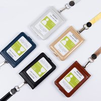 Lanyards Id Badge Holder Cute Nome Tag Plástico Emblema Real Leather Card Case Holder Banco Titular de cartão de crédito Office Supplie Men Women Busines