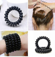 Wholesale Silicone Hair Accessories - 3 Pc Lot Women Ladies Girls New Black Elastic Girl Rubber Telephone Wire Style Hair Ties Plastic Rope Hair Band Accessories