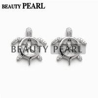 Wholesale Semi Mounts For Earrings - 5 Pairs Turtle Earring Pearl Settings 925 Sterling Silver Zircon Stud Earrings Semi Mounting for DIY