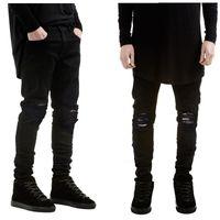 calça jeans venda por atacado-Nova marca de moda homens jeans preto magro rasgado estiramento magro kanye west hip hop swag denim motociclista calças de corrida