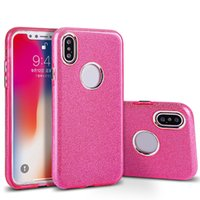 Para Iphone X 7 6 mais Crystal Fashion Bling Metal Chave Hybrid Case para Samsung Note 8 S8 Plus Slim Soft TPU Back Cover OPP Bag
