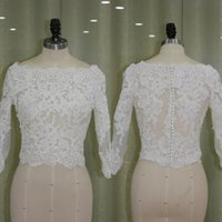 Wholesale Custom Made Bridal Jackets - Real Pictures Sheer Bateau Neck Lace Appliques Bridal Jackets with Sleeves Vintage Wedding Boleros Custom Made