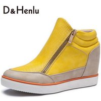 Wholesale Hidden Elastic - Wholesale-{D&H}2016 New High Quality Women's Casual Shoes Height Increasing Casual Ankle Boots Wedge Boots Heels Hidden Shoes Woman