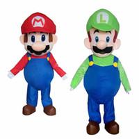 mario trajes mascotes venda por atacado-New Super Mario Luigi 2 pcs traje da mascote vestido de festa de Halloween frete grátis