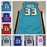 Wholesale Mens Polyester Sport Shirts - Wholesale Mens #33 Grant Hill Jersey White Blue Red Teal Green Basketball Jerseys Cheap Sport Shirt Uniform Free Shipping