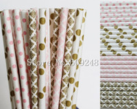 Wholesale pink polka dot straws - Wholesale-100pcs Drinking Paper Straws Mix,Light Pink Swiss Dot and Damask,Metallic Gold Damask and Polka Dot,Cocktail,Vintage Paper Straw