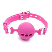 Wholesale Small Silicone Ball - Small Size 38mm Full Silicone Open Mouth Ball Gag in Adult Game Bondage Restraints Sex Products BDSM Erotic Toy Couple Sex Toys